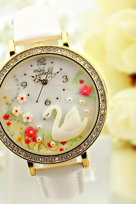 2015 summer fashion cute Cartoon Watches Fashion Female Models White Swan Watches