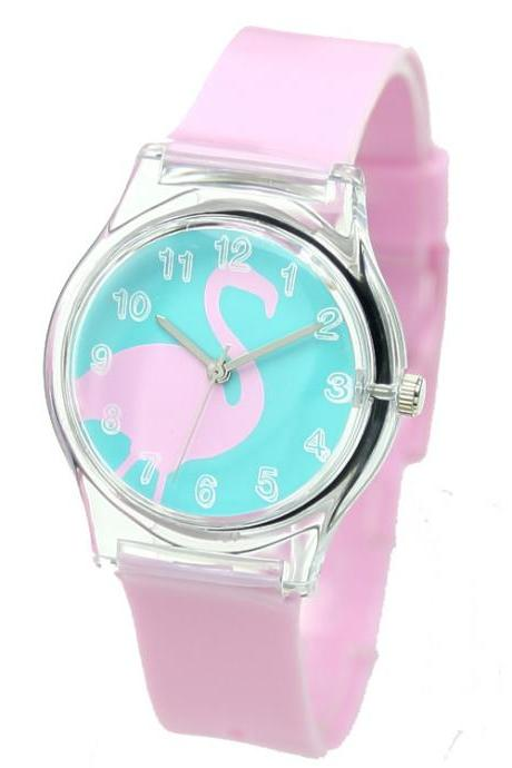 Pink Fashionable Swan Pattern Analog Wrist Watch For Mini Kid Student
