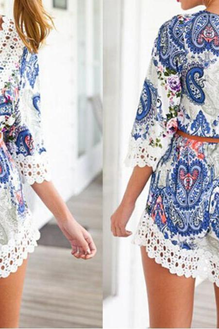 on sale 2015 THE NEW SUMMER DRESSES SEXY PRINTED V-NECK LACE DRESS SEXY