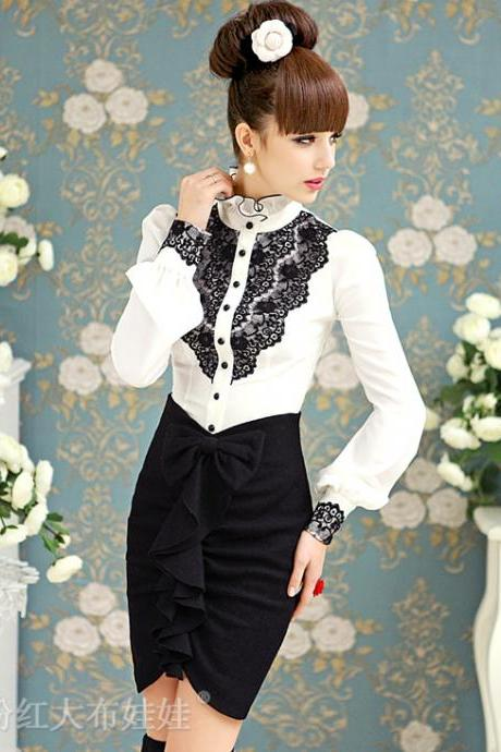 Elegant Lace Patched White Blouse