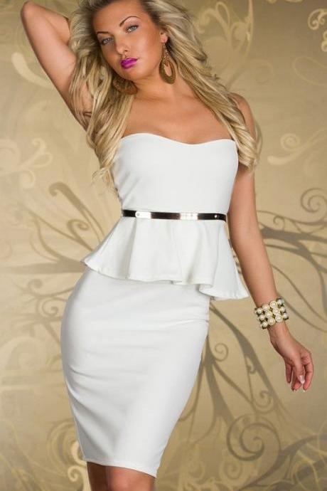 Chic White Peplum Tube Dress