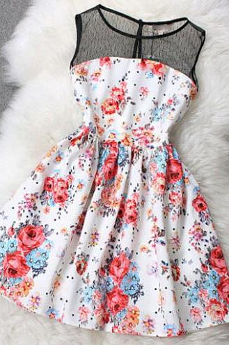 Printed Sleeveless Mesh Dress