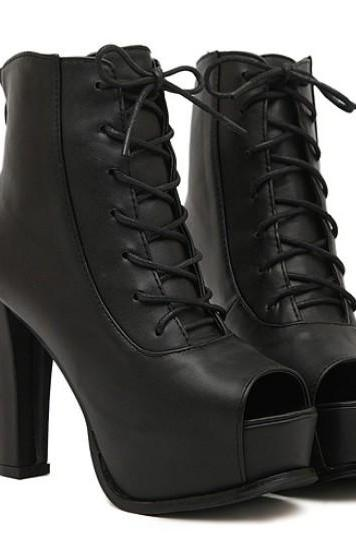 Black Lace Up Peep Toe Boots