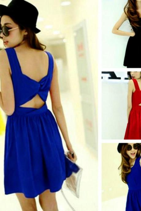 Sexy 3 Colors Bow Knot Design Backless Skater Dress