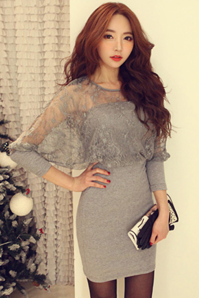 Lace Grey Long Sleeve Mini Dress