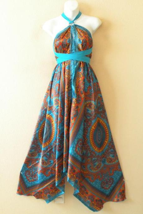 1D104 Aqua & Gold Versatile Silk Multi Wear Scarf Long Maxi Halter Dress Maternity