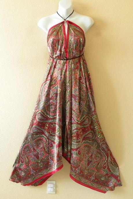 2D72 Red Versatile Silk Multi Wear Scarf Long Maxi Halter Dress Maternity