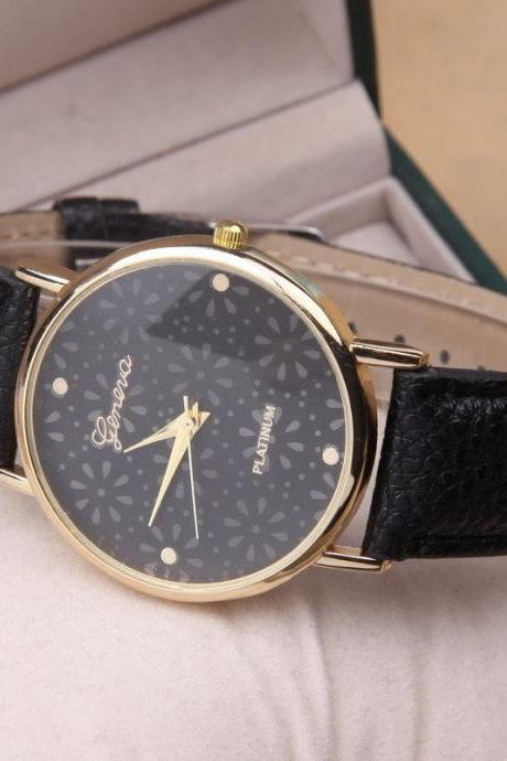 Flower Watch, Black Leather Watch, Pretty Leather Watch, Bracelet Watch, Vintage Watch, Retro Watch, Woman Watch, Lady Watch, Girl Watch, Unisex Watch, AP00216
