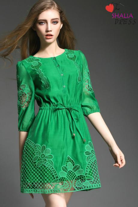 ML03 gren short sleeve lace Cotton casual plus size work petite woman summer clothing girl trendy sundress 2015 online dress