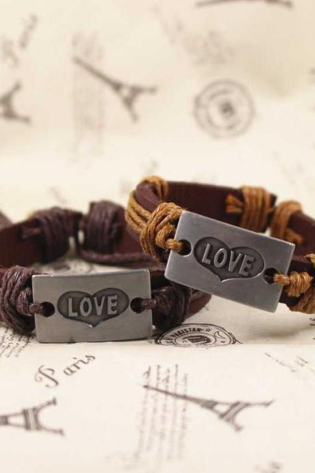 Love Leather Bracelet, Vintage Bracelet, Gifts For Her, Gifts For Him, Birthday Gifts