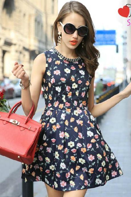 ML19 Knee length Rockabilly dress retro floral print casual plus size work petite woman summer clothing girl trendy sundress 2015 online dress