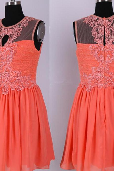 Pretty Coral Lace Knee Length Chiffon Bridesmaid Dresses, Coral Bridesmaid Dresses, Short Prom Dresses, Homecoming Dresses
