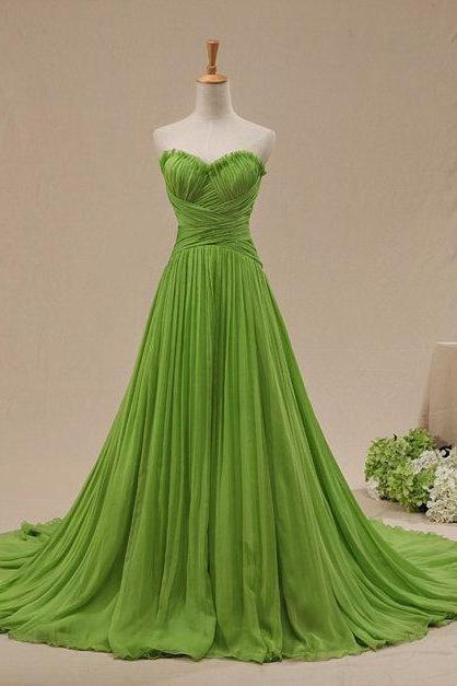 Elegant Green Color Sexy Backless Sweetheart Cheap Prom Party Dresses 2015 Sweep Train Plus Size A Line Formal Evening Dress