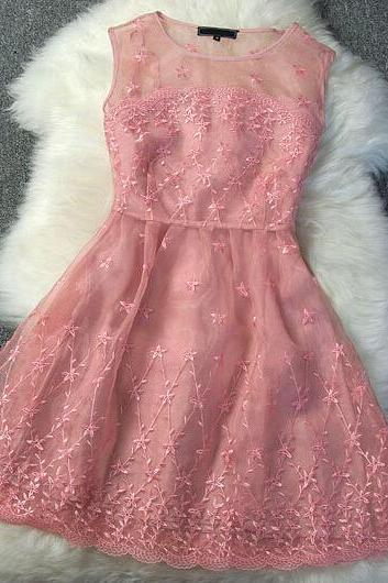 Organza Embroidery Dress--Pink