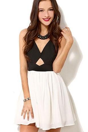 Black White Cross Open Back Bow Dress