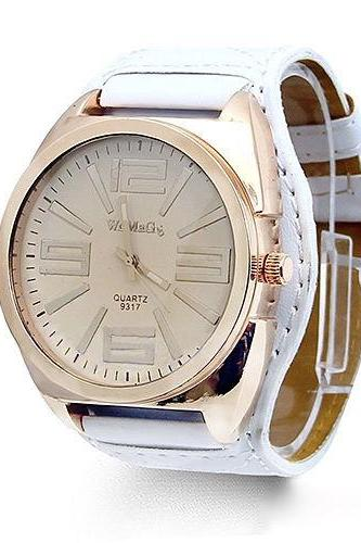 Mens Classic Quartz Watch, White Leather Watch, Style Leather Watch, Bracelet Watch, Vintage Watch, Retro Watch, Woman Watch, Lady Watch, Girl Watch, Unisex Watch, AP00223