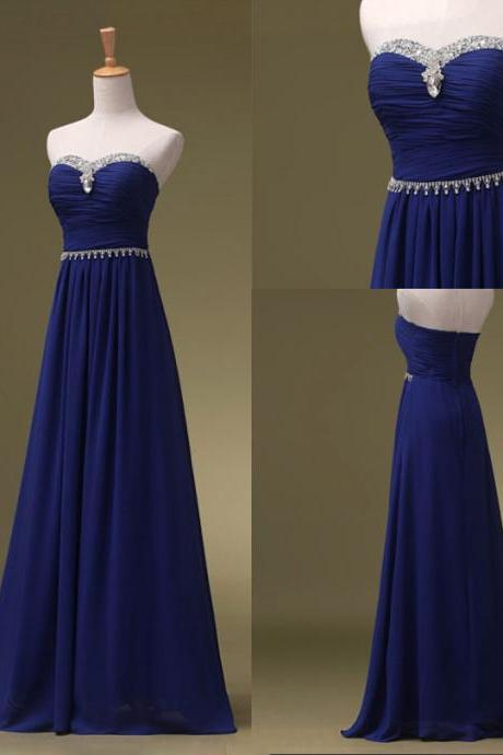 Royal Blue Long Bridesmaid Dresses A-line Strapless sleeveless long Prom Dresses Evening Formal Gowns Party Dresses