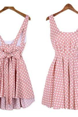 Polka Dot Backless Bow Dress