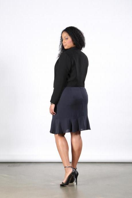 PLUS SIZE Navy Silk Skirt