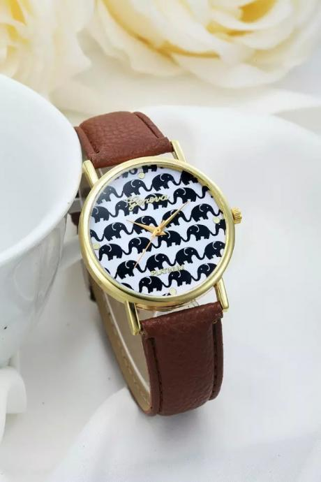 Elephant watch, elephant leather watch, brown leather watch, bracelet watch, vintage watch, retro watch, woman watch, lady watch, girl watch, unisex watch, AP00231