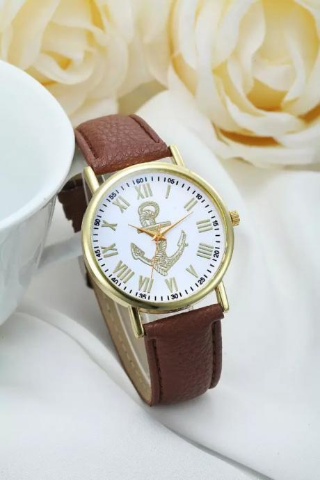 Anchor watch, anchor leather watch, leather watch, bracelet watch, vintage watch, retro watch, woman watch, lady watch, girl watch, unisex watch, AP00237