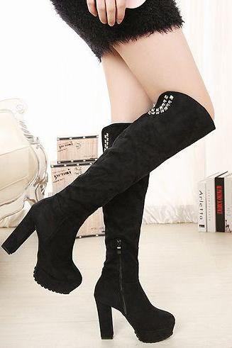 Knee High Black Diamante Design Chunky Heel Boots