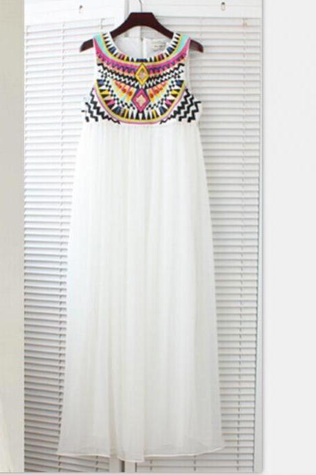 Maxi Empire Waist Summer Dress featuring Bohemian Embroidery