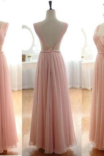 2015 Hot Selling Long Pink Color Cheap Bridesmaid Dresses A Line Chiffon Sexy Backless Pleats Formal Woman Wedding Party Dress