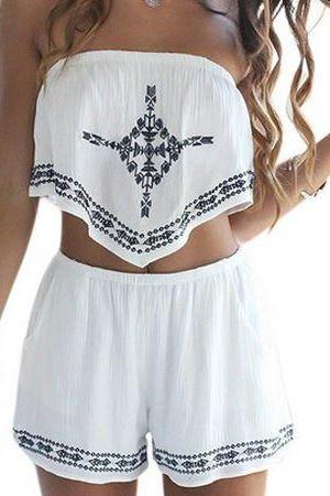 Two Piece Embroidered White Strapless Top & Shorts