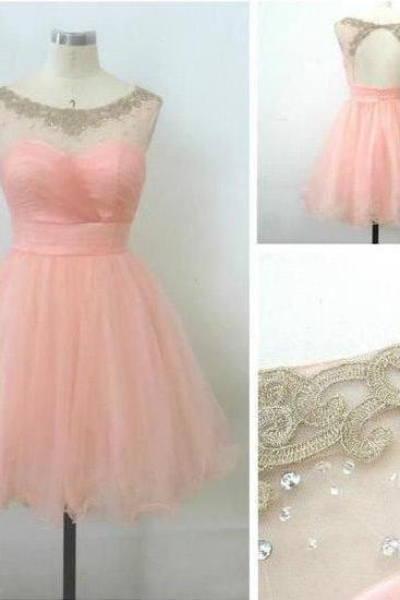 Cute 8th Grade Graduation Dresses 2015 Summer Beach Lovely Pink Color Ball Gown Tulle Short Homecoming Dress For Party