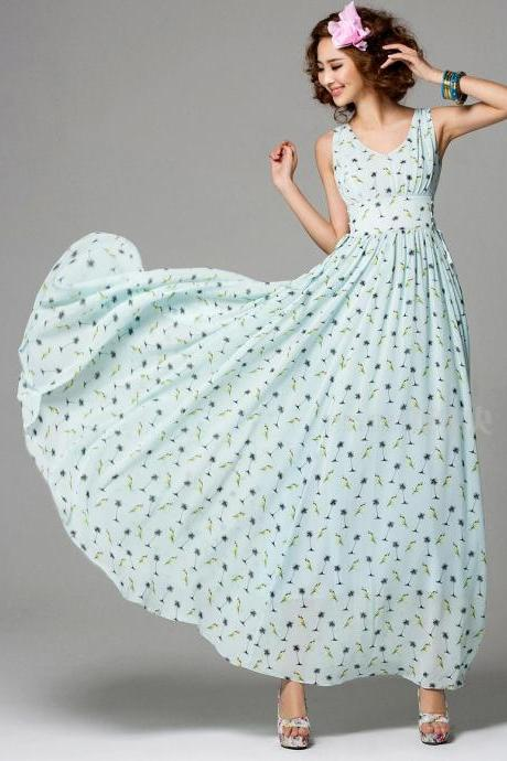 Summer Long Printing Chiffon Dress