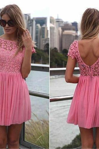 The Charming Lace and Chiffon Short Graduation Dresses, Short-Mini Graduation Dresses,Homecoming Dresses, O-Neck Homecoming Dress, Homecoming Dress On Sale,