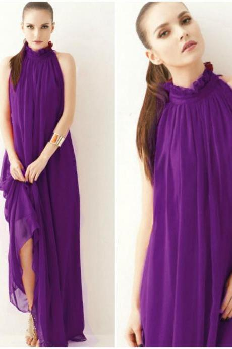 Purple Chiffon Goddess Inspired Maxi Dress