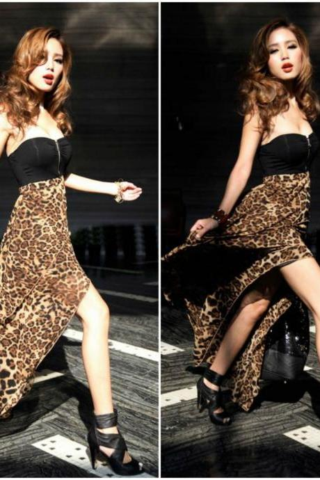 Irregular Hem Leopard Print Sexy Tube Chiffon Dress