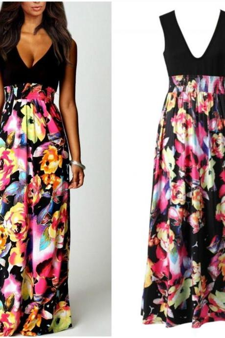 Beautiful V Neck Floral Printed Chiffon Maxi Dress