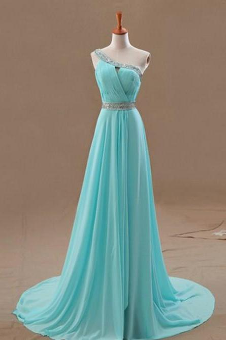 Pretty Simple One Shoulder Chiffon Prom dresses, Bridesmaid Dresses, Prom Gowns, Evening Dresses