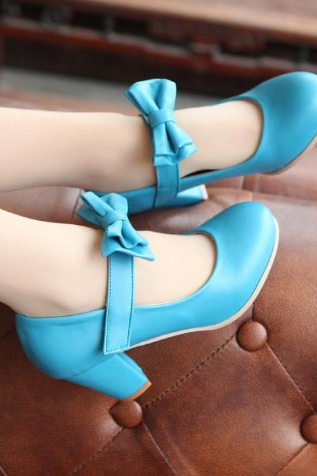 Sweet Color Candy Womens Mary Janes Pumps Heel Lolita Bowknot Shoes Blue