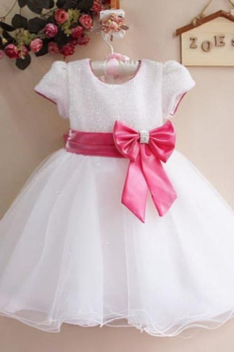 White Dress White Girls Dress Formal Wear White Dress for 2T,3T,4T Girls