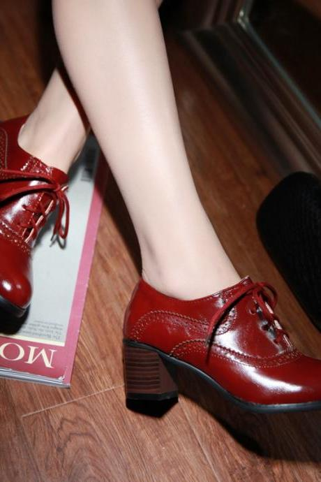 Brogue Womens Oxford Lace Up Wing Tip Retro Mid Chunky Heel Slip On Shoes Red