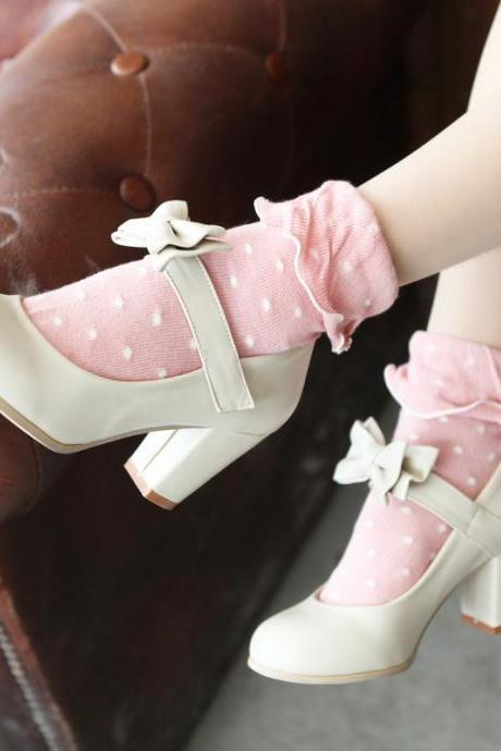 Sweet Color Candy Womens Mary Janes Pumps Heel Lolita Bowknot Shoes Beige