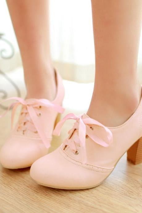 Women'S Punk Pointed Toe Lace Up Platform Block High Heels Ankle Boots Shoes Pink