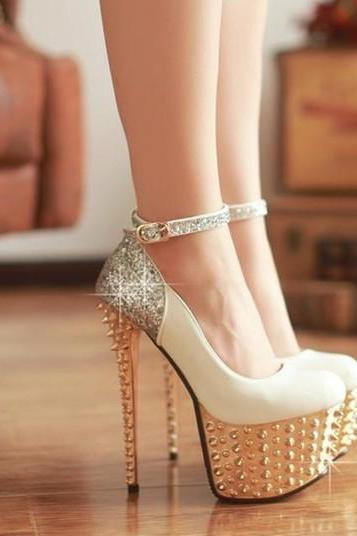 White And Metallic Rivets Ankle Strap Pumps