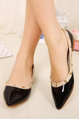 Black Pointed Toe Leather Ballerina Pumps with Pyramid Studs, Flat Shoes