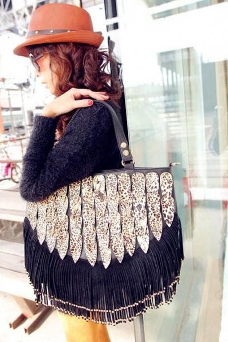 2015 New fashion cute Vintage Shining Leopard Tassel Handbag