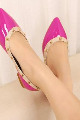 Pink Studded Patent Leather Pointed Toe Ballerina Pumps