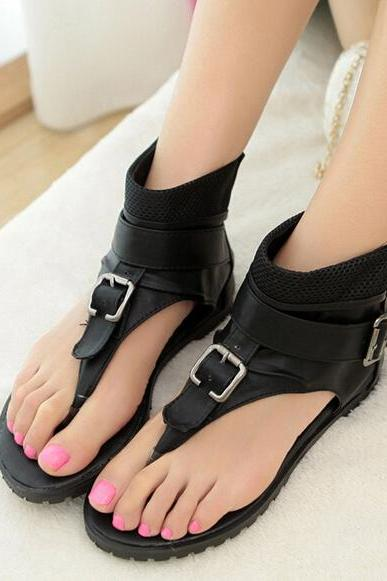 Casual Black Ankle Strap Fashion Sandals