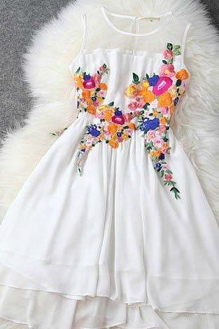 Beautiful Floral Embroidered Sleeveless Chiffon Dress In White And Black