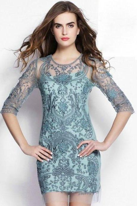 Stunning Embroidered Lace Party Dress In 3 Colors