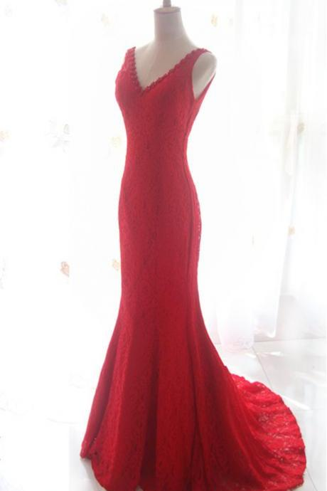 Pretty V-Neck Lace Red Evening Dresses Sweep Train, Prom Gowns, Red Prom Gowns, Formal Gowns