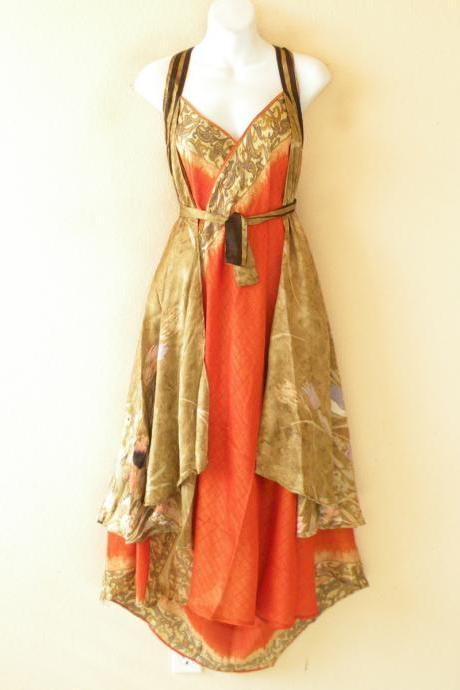 "E530 Vintage Silk Magic 36"" Length Long Wrap Skirt Halter Tube Maxi Dress + DVD"